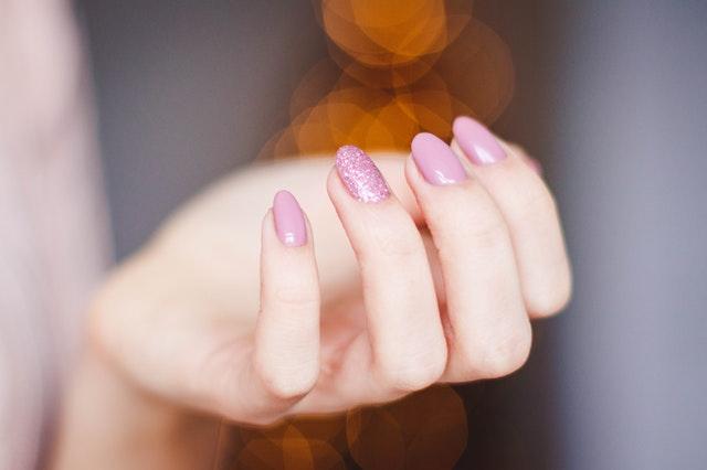 Pink finger nails