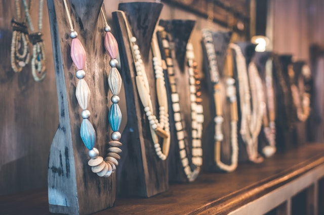 Necklaces and beads in a shop